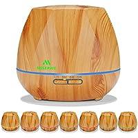 Miserwe 550ml アロマディフューザー 超音波式 加湿器 7色変換LED タイマー空気清浄機 卓上加湿器 ムードランプ 空焼き防止付き 消灯可能 静音設計 ヨガ 就寝など最適
