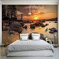 Xbwy 3D壁画壁紙カスタム美しいサンセットロックシーサイド風景自然レストランカフェ寝室リビングルーム家の装飾-400X280Cm