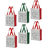 Earthwise Reusable Shopping Grocery Bag DIY COLOR IN Xmas Holiday Gift Bags for Kids & Adults (Set of 6)