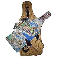 Manhattan Transitマップワイン&チーズセットガラスカッティングボード