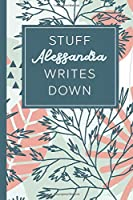 Stuff Alessandra Writes Down: Personalized Journal / Notebook (6 x 9 inch) STUNNING Tropical Teal and Blush Pink Pattern