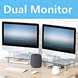FITUEYES Computer Monitor Stand with Height Adjustable Leg Dual Monitor Riser Desk fit Laptop/Xbox One/Component/Flat Screen TV - 2 Pack DT103803GC