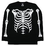 ホネホネ/スケルトン/長袖Tシャツ/メンズ/レディース/ロックTシャツ (XS, 黒)