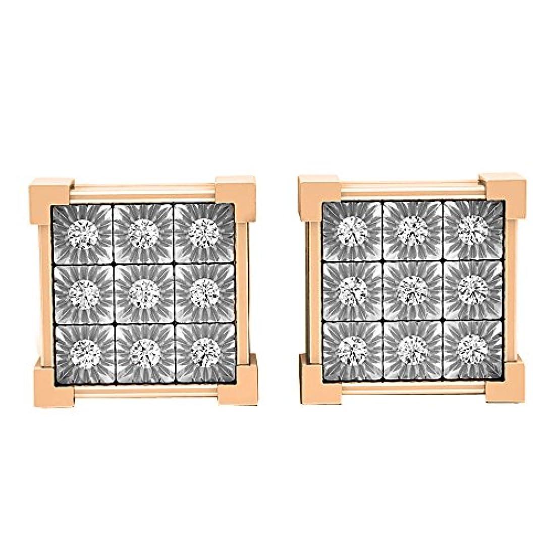 ようこそ聞くコントラスト0.20カラット(CTW10 KゴールドラウンドダイヤモンドV Prong Square Shapeメンズヒップホップスタッドイヤリング1 / 5 ct