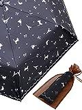 日傘 晴雨兼用 UVカット 折りたたみ フランスの香り エッフェル おしゃれな 猫 青 水玉 かさ (オーガンジーポーチ付)
