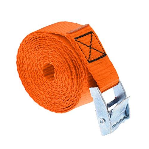 Perfeclan 全5色 約5m カヤック カヌー タイダウン ベルト 締めストラップ バックル 耐久性  - オレンジ
