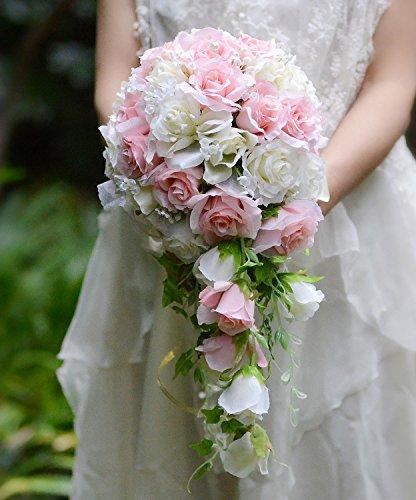 ピンク&ホワイト ばら キャスケードブーケ ウエディングブーケ ブライダルブーケブーケ 花嫁ブーケ 造花 結婚式