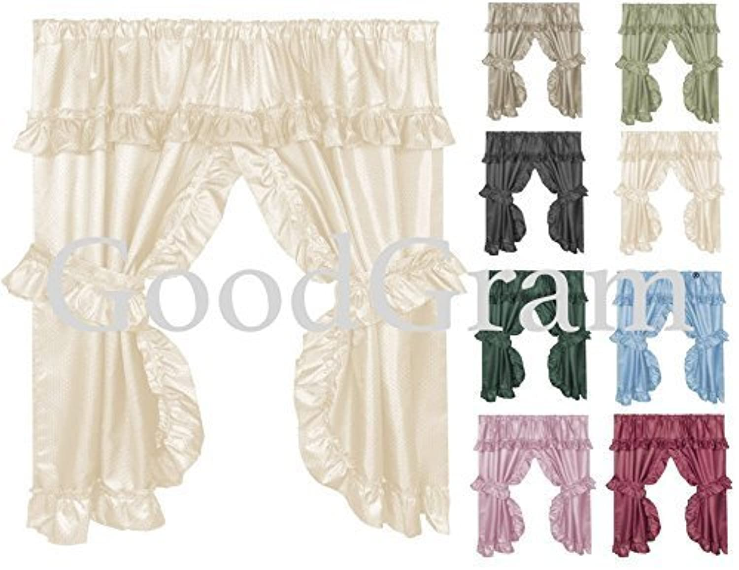 [GoodGram®]GoodGram® Double Swag Window in a Bag Curtain Set by Assorted Colors B01E6B50WG [並行輸入品]