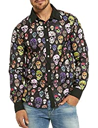 maweisong メンズスカルプリントスリムフィットロングスリーブカジュアルボタンダウンシャツ