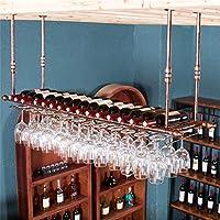 壁の装飾ハンギングマウント金属ワインラック、ヨーロッパ鉄ワイングラスハンギングラックゴブレットホルダー脚付きグラスラック(色:青銅、サイズ:60 * 30 cm)