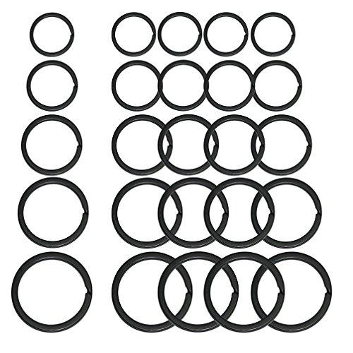 平キーリング 黒い 外径25mm 28mm 30mm 32mm 35mm 25個入(各サイズ5)