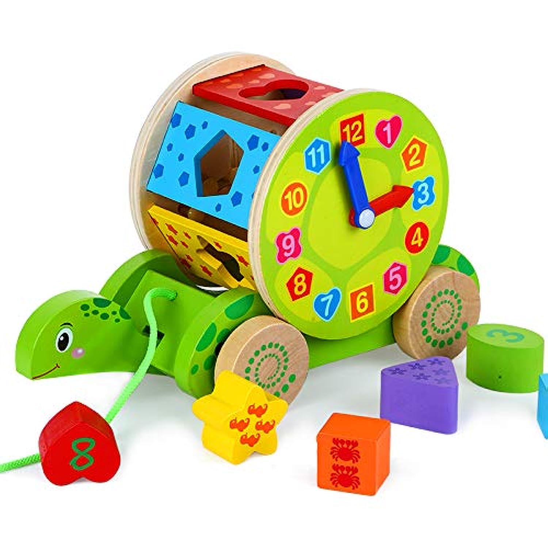 亀おもちゃ ビルディングブロック 幾何認知 図形認知 モンテッソーリ 幼児 教育 木製 知育玩具 木製 おもちゃ パズル 子供用 女の子 男の子 誕生日 クリスマス プレゼント