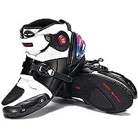 (まごころ e-ショップ) オートバイ靴 バイク用ブーツ レーシングブーツ 強化防衛靴 ライダーブーツ ショートブーツ  スポーツシューズ ホワイト 約26-26.5cm&42