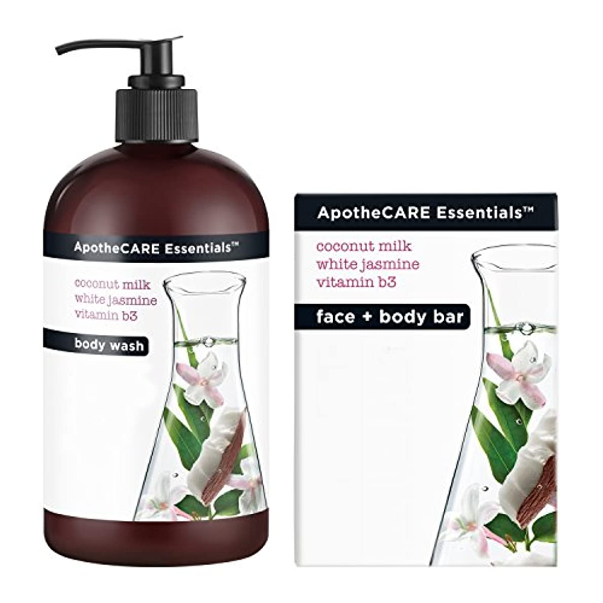 Body Wash and Bar Soap, Coconut Milk, White Jasmine, Vitamin B3, 16 oz 473 ml
