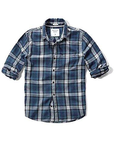 (アバクロンビー&フィッチ) Abercrombie & Fitch アバクロ メンズ ネルシャツ ボタンダウンシャツ フランネル [ネイビー/Moose刺繍] 並行輸入品