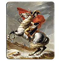 アートマウスパッドおしゃれ耐久滑り防止-ジャックによるアルプスを横断するナポレオンの有名な美術絵画の天然ゴムマウスパッドおしゃれ耐久滑り防止-ステッチエッジ