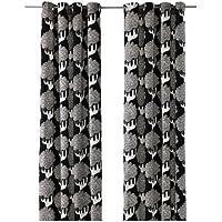 IKEA カーテン 2パネル 57x98インチ アイレット ヘッディング ブラックツリー フローラルリーフ モダンウィンドウドレープ カージャミア