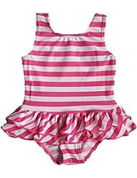 BAOHULU可愛い 女の子水着 ピンク 花柄つき 日焼け止め ストライプ ファッション キュート ワンピース水着 スイミングウェア
