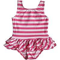 BAOHULU 女の子 子供 可愛いピンク ストライプ ファッション キュート ワンピース水着