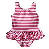2016女の子子供女児水着みずぎ 可愛いピンク ストライプ ファッション キュートワンピース水着柔らかい快適スイミングウェアS179_2A