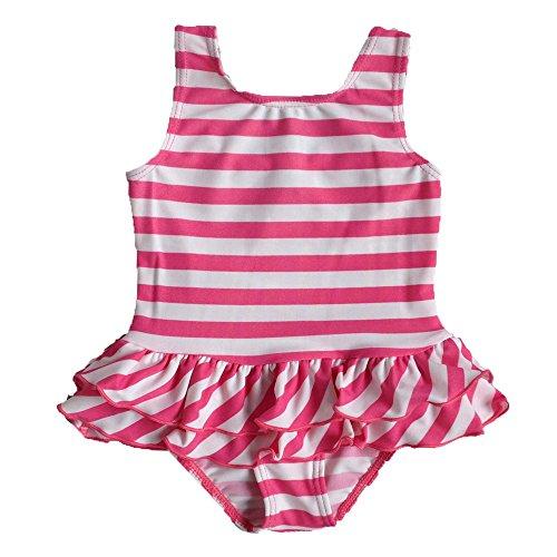 b98caf6ec494b 2016 女の子 子供 女児水着 みずぎ 可愛いピンク ストライプ ファッション キュート ワンピース水着 柔らかい 快適 スイミングウェア  S179 4A