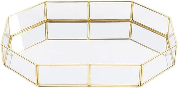 北欧風 ガラス メーキャップ オーガナイザー ジュエリートレイ テーブル トレイ テーブル ストレージ バスケット 全3種 - ポリゴン, S