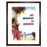 Travel Jamaica Beach Fun Holiday Jet Airline Framed Wall Art Print 旅行ジャマイカビーチ休日航空会社壁