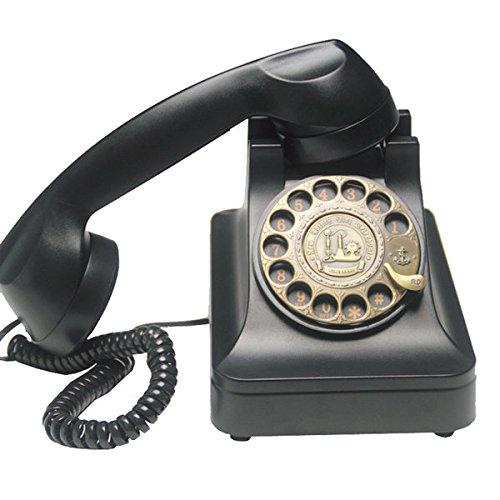 [jiroo] 黒電話 ノスタルジック アイテム 懐かしい 黒電話風 回転 ダイヤル式 電話機 オシャレ 黒 ブラック インテリアとしても最適