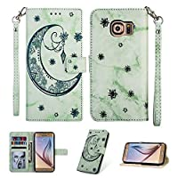 MGVV Galaxy S6 Case,[Moon Embossing] Leather Flip Wallet Case with Credit Card Holder & Wrist Strap Magnetic Closure Kickstand Compatible with Samsung Galaxy S6 - Green