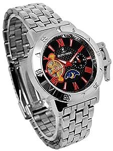 テンプスケルトン リューズカバー 自動巻き 腕時計 ブラック×レッド サン&ムーン搭載 24時間針 スワロフスキー 銀 黒 赤 シルバー【並行輸入品】