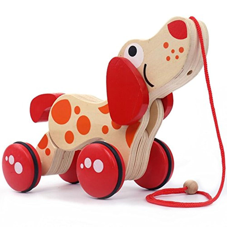 aomeiter-walk-a-long犬Wooden Pull Toy木製玩具車子供幼児用おもちゃ