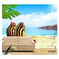 Mrlwy カスタム3D壁画、海岸シマリス2匹の動物、リビングルームのソファテレビ壁の寝室の背景の壁紙 - 200X140CM