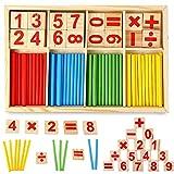木製 計算おもちゃ 数字スティック カウント玩具 算数棒 数え棒 数学パズル 知育 知恵 学前教育玩具 幼児 子供 小学生用 誕生日のプレゼント 出産祝い 贈り物 (1)