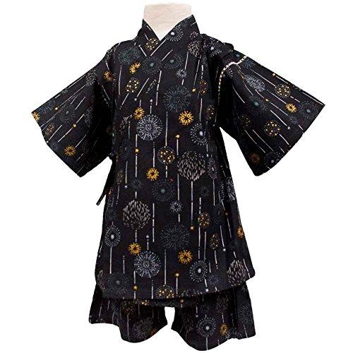 ボーイズキッズ浴衣|甚平[くろわっさんすべべ]男の子|男児|子供用花火柄甚平上下セット日本製の綿100%生地使用120|ブラック