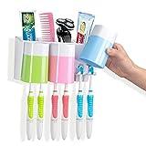 Warmlife 防塵歯ブラシホルダー コップ3つ付き 壁への取付が簡単 電動歯ブラシ収納セット
