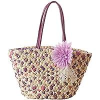 Woven Straw Large Boho Bag Summer Beach Tote Rattan Hand Made Shoulder Handbag For Women