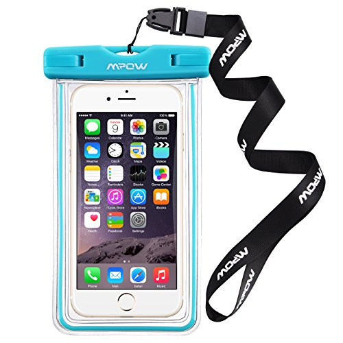 Mpow 防水携帯ケース スマートフォン用防水・防塵ケース iPhone6Sなど6インチまでのスマホに対応 IPX8 アウトドア潜水/温泉/釣り/お風呂/水泳など用の防水袋(ブルー)