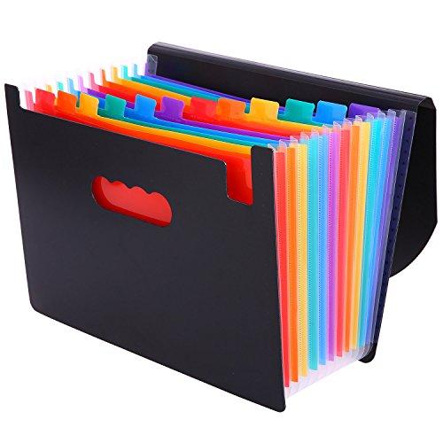 KAMA BRIDAL 2way A4 書類ケース 持ち運び 12ポケット ドキュメントスタンド 蓋付き ファイルボックス ファイルフォルダー ケースファイル キャリングケース ドキュメントファイル クリアホルダー アコーディオン 分類 個別フォルダー 文房具 便利 (12ポケット)
