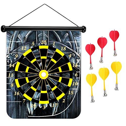 15インチMagnetic Dart Board Double Sided Hanging Dart Board Set and Bullseyeゲーム。スケルトンキング