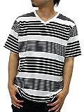 NOTA BENE(ノータベネ) 大きいサイズ メンズ Tシャツ 半袖 ボーダー Vネック ブラック 4L