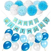 ZhengYue 豪華 誕生日 飾り付け セット ペーパーポンポン ペーパーフラワー ガーランド バルーン バースデー パーティー デコレーション 装飾 ブルー