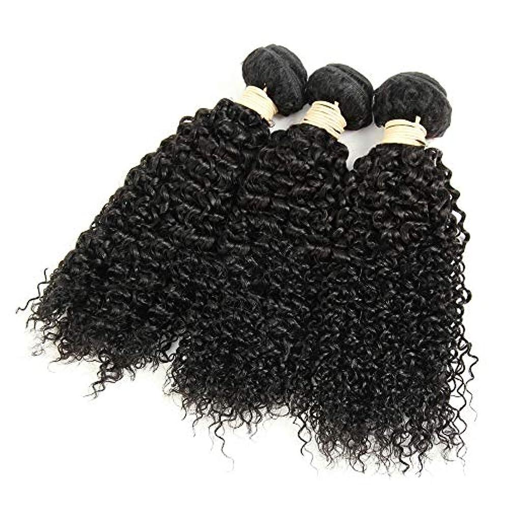 良い配列しわMayalina ブラジルのバージン変態カーリーヘアバンドル人毛エクステンション横糸 - #1Bナチュラルブラックカラー、8
