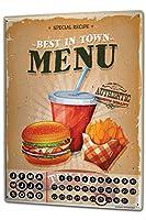 カレンダー Perpetual Calendar Nostalgic Fun Burger menu Tin Metal Magnetic