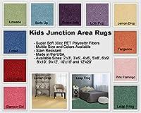 Kids Junctionエリアラグ、多く明るい、鮮やかな色から選択と多くのサイズあります。 9'x12' グリーン KidXLime9x12