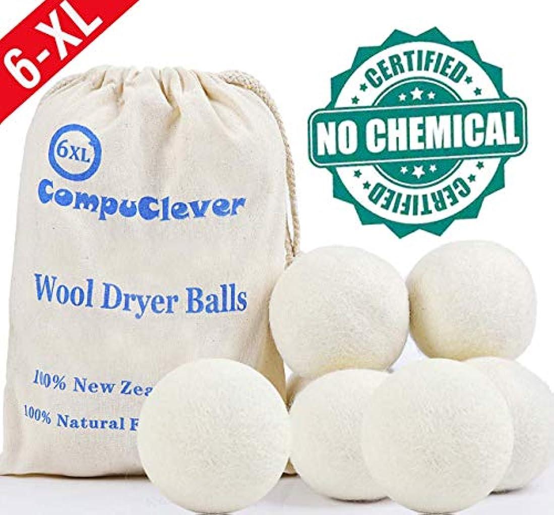 プーノによると驚いたことにウールドライヤーボールby Teemour 6個パックXL有機自然柔軟剤ランドリードライヤーボールボーナスポーチ無料ギフト X-Large ホワイト