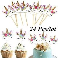 24ピース/セットユニコーン漫画カップケーキトッパーケーキ飾る挿入カードピック結婚式キッズ誕生日パーティーの装飾用品