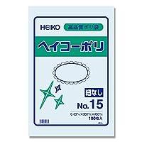 ヘイコー ビニール袋 ヘイコーポリ No.15 0.03mm厚 紐なし 100枚 006611501