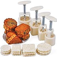 ホット16個ムーンケーキモールド4ハンド圧力モールド+ 12モチーフMooncake Molds Round&スクエアクッキーデザートベーキングツール