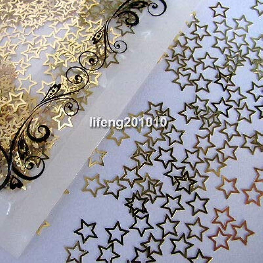 によって衣服ロッジFidgetGear ゴールデンスターシェイプネイルアートフォイルメタル装飾ネイルデカールシールシール
