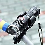 自転車ライト 自転車前照灯 自転車ヘッドライト LED懐中電灯 USB充電式 1200ルーメン CREE XM-L2 U3 (4000mAh 26650電池携帯) 軍用超強力 無段階ズーム 電気量の表示機能 アウトドア/自転車ライト/キャンプ防犯防災等に適用